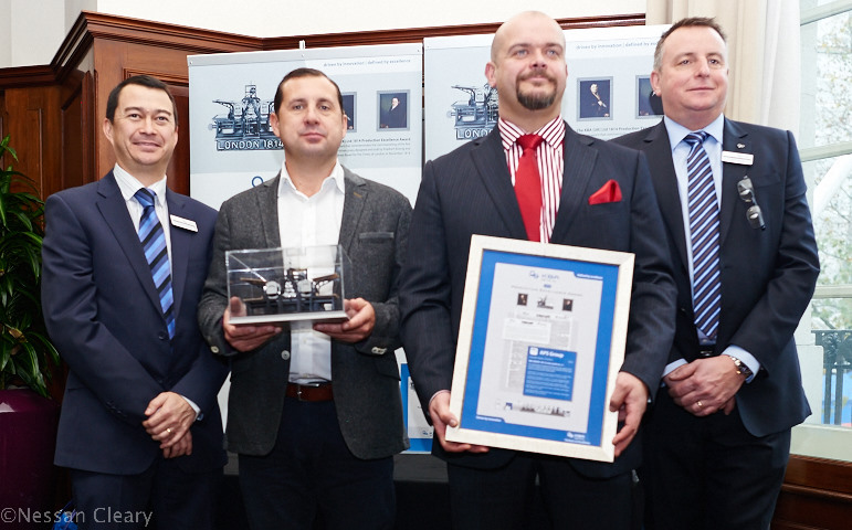 APS won the 2014 annual 1814 award. From left, Andrew Pang, managing director of KBA UK, Stephen Goodall and Gareth Jones of APS, with Chris Scully, responsible for KBA sheetfed sales.